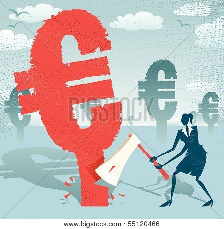 Abstract Businesswoman Cuts Down The Euro.eps