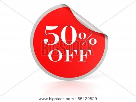 Red round sticker for 50 percent discount