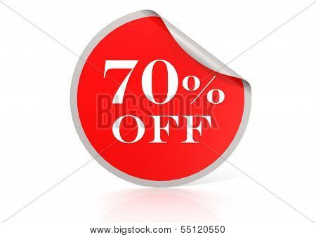 Red round sticker for 70 percent discount