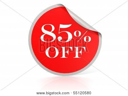 Red round sticker for 85 percent discount