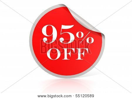 Red round sticker for 95 percent discount