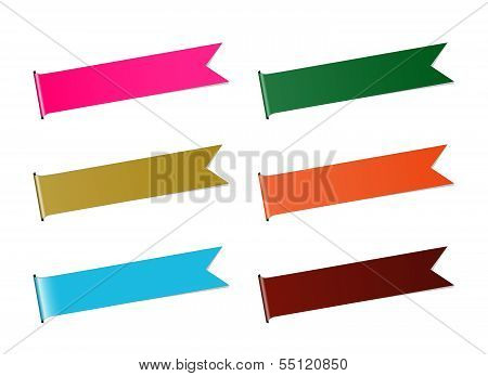 The set of six color ribbons