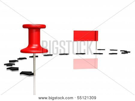 Push pin to red flag