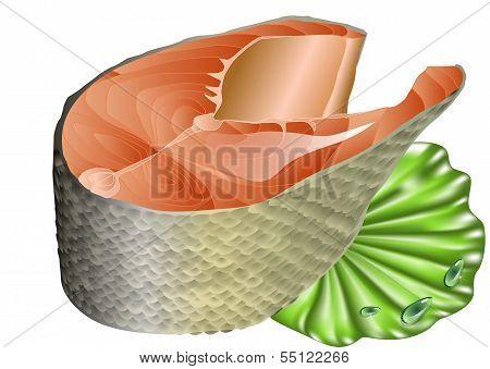 Salmon On Lettuce Leaf