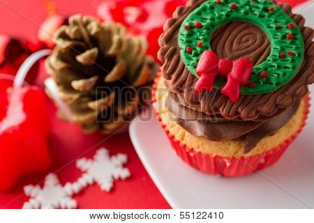 choco Christmas cupcake with decoration
