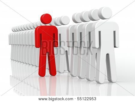 Red man in queue