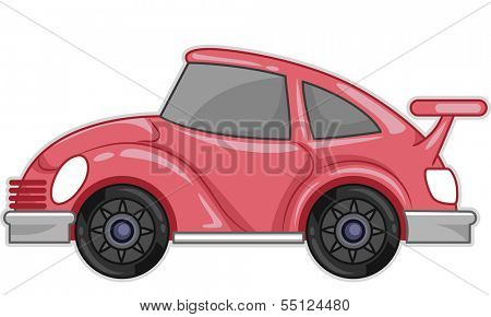 Illustration Featuring a Stylish Pink Car