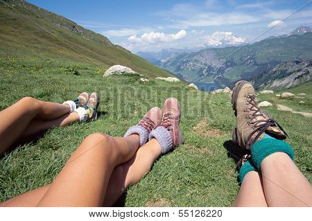 Hikers And Mountains Landscape On A Sunny Day In Savoy, France