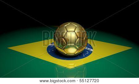 Gold soccer ball on Brazilian flag