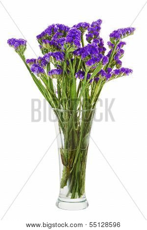 Bouquet From Statice Flowers Arrangement Centerpiece In Vase Isolated On White Background.