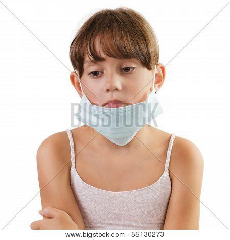 Sad Girl In A Medical Mask