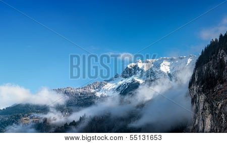 View Of The Bernese Alps From Lauterbrunnen. Switzerland.