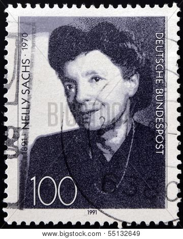 A stamp printed in Germany dedicated to the 100th anniversary of the birth Nelly Sachs