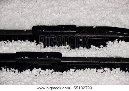 Windshield Wiper With White Hail In Winter