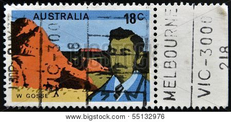 A stamp printed in Australia shows William Gosse