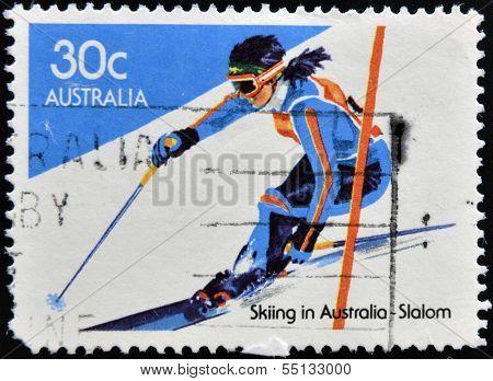 stamp printed in Australia shows slalom