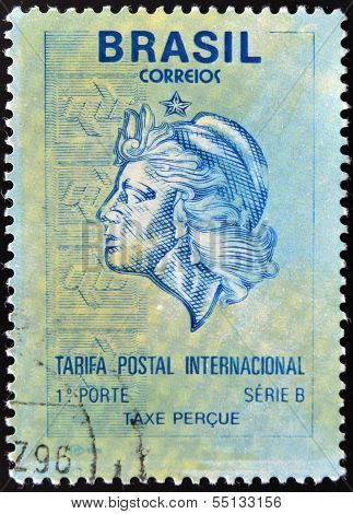 A stamp printed in Brazil shows allegory of woman