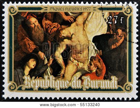 stamp shows The Descent from the Cross by Peter Paul Rubens easter