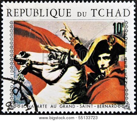 Stamp printed in Chad shows Napoleon (painting by L. David) detail