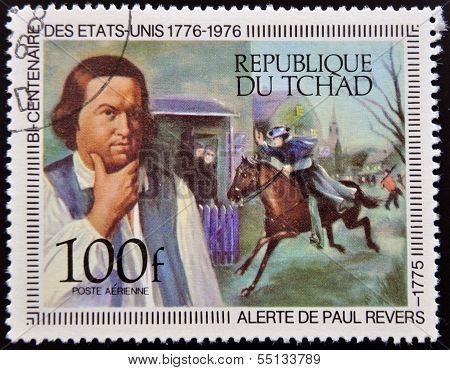 A stamp printed in Chad shows Paul Reveres Ride and Portrait by Copley