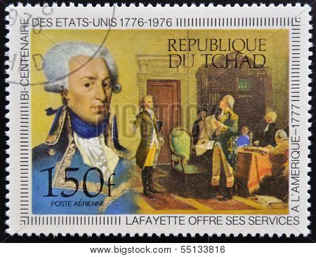 A stamp printed in Chad shows lafayette circa 1976