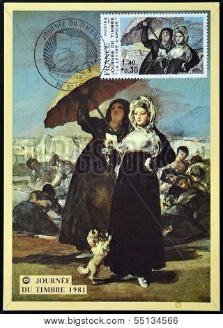 stamp printed in France shows Women Along the Manzanares Painting by Francisco Goya love letters