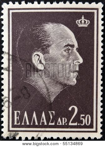 A stamp printed in Greece shows King Paul of Greece
