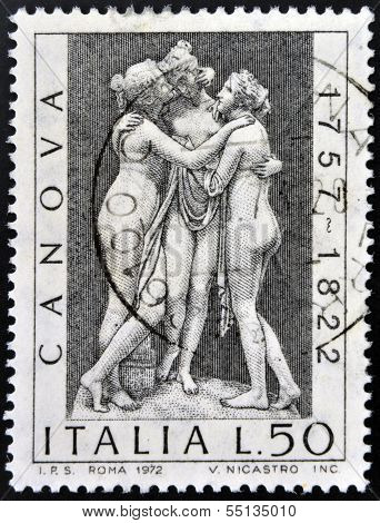 ITALY - CIRCA 1972: stamp printed in Italy shows The three graces by Antonio Canova circa 1972