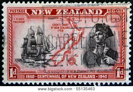 stamp shows a portrait of Captain Cook the H.M Bark Endeavour and maritime chart of the islands
