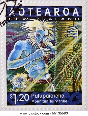 A stamp printed in New Zealand shows Patupaiarehe mountain talry tribe