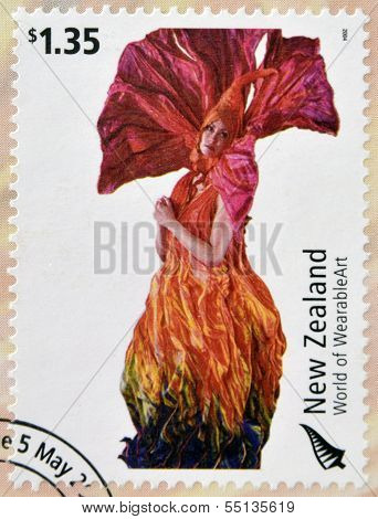 stamp dedicated to World of WearableArt shows Meridian by Rowan McLennan