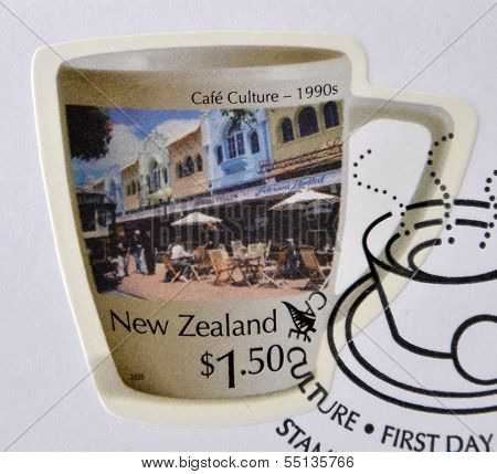 Stamp printed in New Zealand dedicated to Cafe Culture 1990s