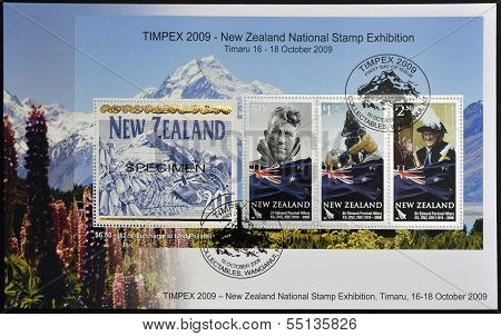 stamps shows Sir Edmund Percival Hillary first person to climb Everest