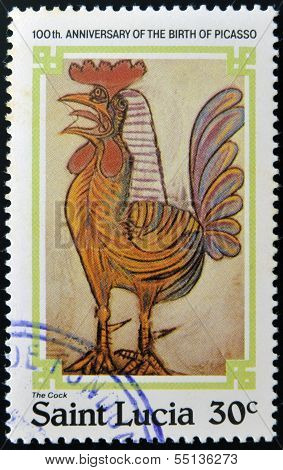 stamp printed in Saint Lucia shows the by Pablo Ruiz Picasso