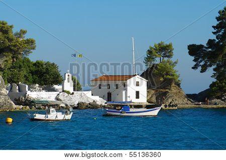 Parga white church on Panagia island, Greece
