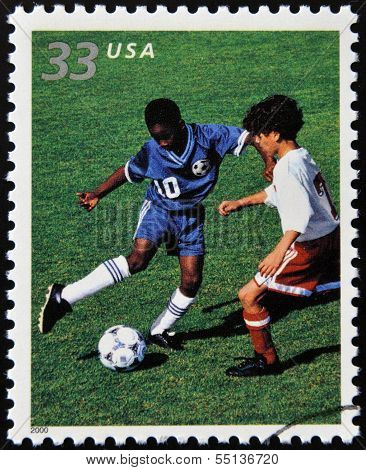 stamp commemorates youth team sports in America shows soccer
