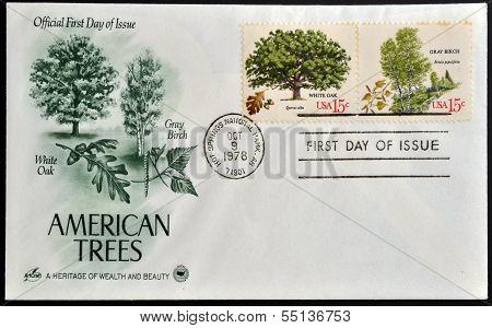 Stamps printed in USA shows White Oak (Quercus alba) and Gray Birch (Betula populifolia)