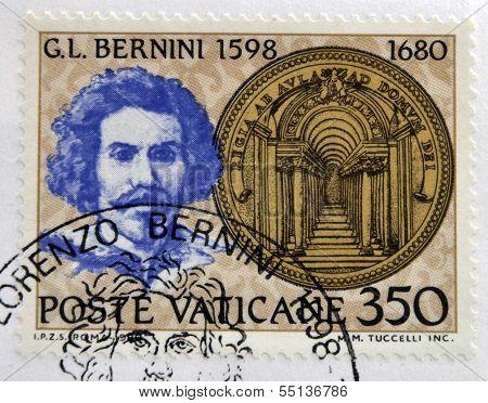 Stamp printed in Vatican shows Gian Lorenzo Bernini