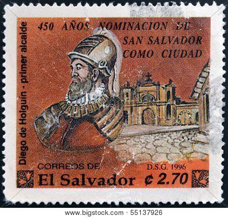 Stamp printed in El Salvador shows Diego de Holguin first mayor of San Salvador