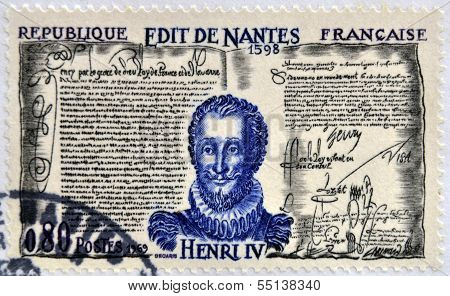 A stamp printed in France shows Edict of Nantes and Henry IV of France