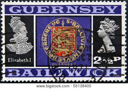 Stamp printed in Guernsey shows Elizabeth I shield and Elizabetth II