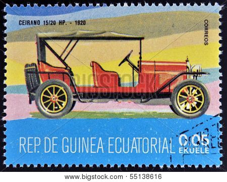 stamp printed in Guinea dedicated to vintage cars shows Ceirano 15/20 Hp 1920