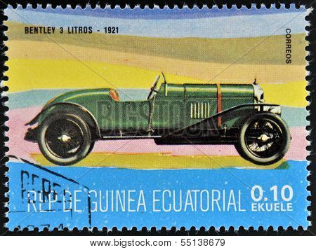 stamp printed in Guinea dedicated to vintage cars shows Bentley 3 Litre 1921