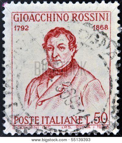 ITALY - CIRCA 1968: stamp printed in Italy shows Gioacchino Rossini circa 1968
