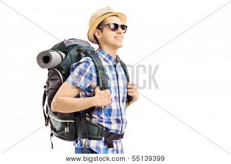 Male tourist with backpack walking isolated on white background