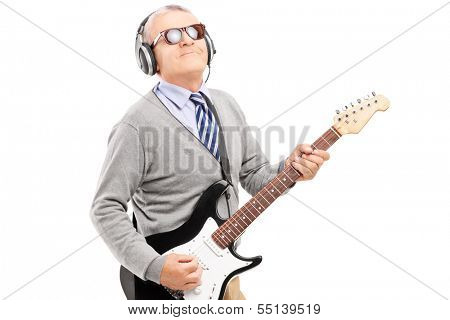 Mature man playing guitar isolated on white background