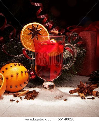 Close up glass of mulled wine