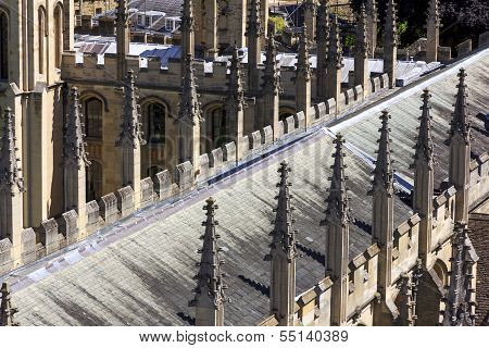 Decorative Spires Of All Soul's College In Oxford, England
