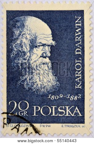 POLAND - CIRCA 1959: A stamp printed in Poland shows Charles Darwin (1809-1882) circa 1959