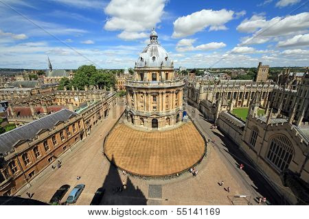 Etremely wideangle photo of Radcliffe Camera the square and surrounding colleges in Oxford England